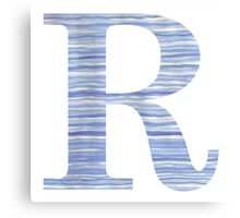 Letter R Blue Watercolor Stripes Monogram Initial Canvas Print