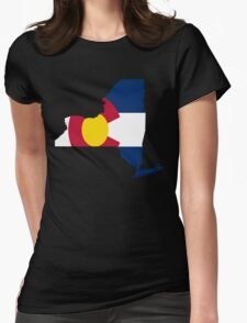 I Live in New York but I Was Born in Colorado Womens Fitted T-Shirt