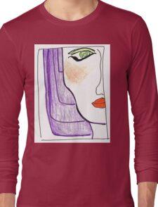 Demi-Face in Purple Long Sleeve T-Shirt