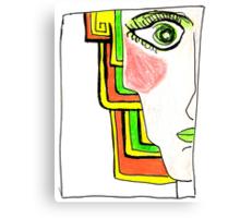 Demi-Face Green Canvas Print