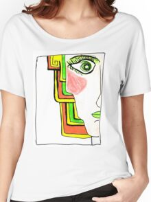 Demi-Face Green Women's Relaxed Fit T-Shirt