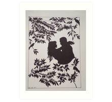 Silhouette Lovers Art Print