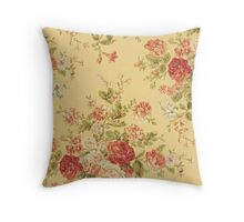 Vintage Pink Roses on Creamy Yellow Background Throw Pillow