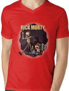 Rick and Morty/ The Walking Dead crossover Mens V-Neck T-Shirt