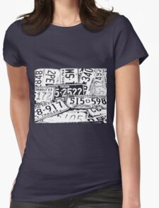 License Plates Black & White Womens Fitted T-Shirt