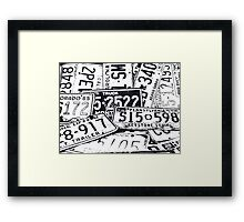 License Plates Black & White Framed Print