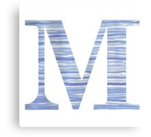 Letter M Blue Watercolor Stripes Monogram Initial Canvas Print