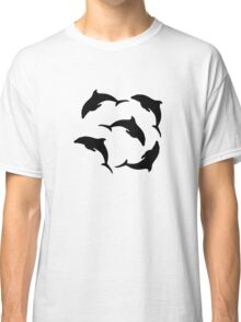 Cute dolphins swimming in circle Classic T-Shirt