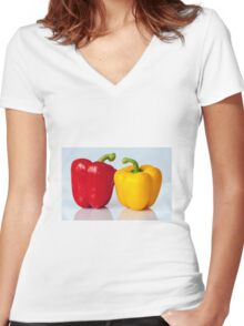 Red and yellow peppers Women's Fitted V-Neck T-Shirt