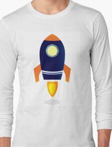 Blue Rocket ship. Vector cartoon Long Sleeve T-Shirt