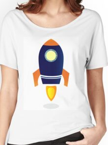 Blue Rocket ship. Vector cartoon Women's Relaxed Fit T-Shirt