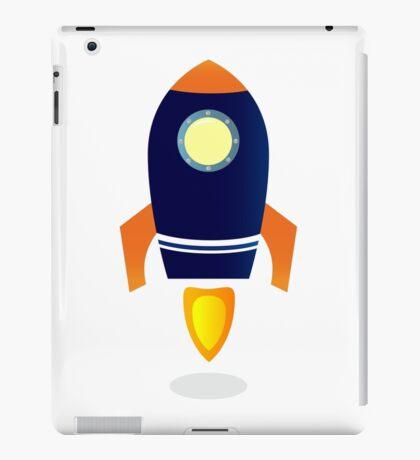 Blue Rocket ship. Vector cartoon iPad Case/Skin
