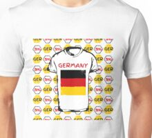 A soccer ball pattern and a Germany flag. Unisex T-Shirt