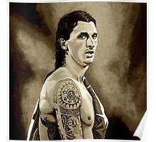 Zlatan Ibrahimovic Sepia Poster