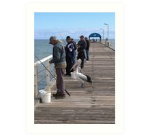 'YOU PULL THEM IN & I'LL EAT!' Henley Beach Jetty, Adelaide. Art Print