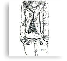 Girl in JD Tee Doodle Metal Print