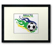 Brazil Brasil Soccer Ball Framed Print