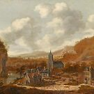 Dionijs Verburgh (Rotterdam c. ), A Town in a Hilly Landscape with a River and Several Figures by MotionAge Media