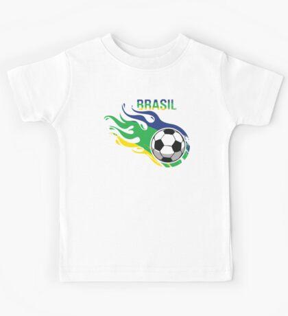 Brasil Futebol - Brazil Soccer Ball Kids Tee