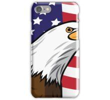 Bald Eagle on American flag background iPhone Case/Skin