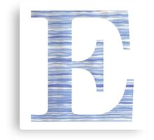 Letter E Blue Watercolor Stripes Monogram Initial Canvas Print