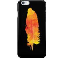 Orange Watercolour FEATHER iPhone Case (Black) iPhone Case/Skin
