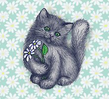 Cute Kitten with Daisies by micklyn