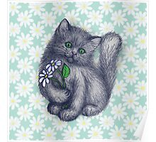 Cute Kitten with Daisies Poster