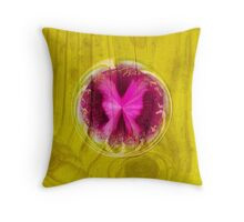 Butterfly bubble on wood Throw Pillow