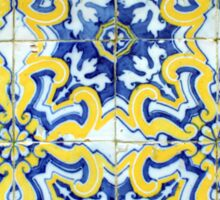 Portuguese azulejos with exploding yellow flowers Sticker