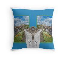 York. Double take in blue. Throw Pillow