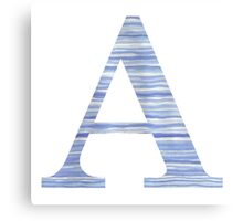 Letter A Blue Watercolor Stripes Monogram Initial Canvas Print