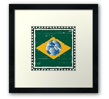 Brazil flag like stamp in grunge style Framed Print