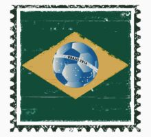 Brazil flag like stamp in grunge style Kids Tee