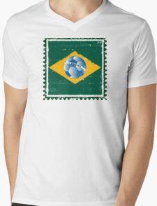 Brazil flag like stamp in grunge style Mens V-Neck T-Shirt