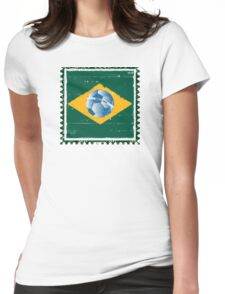 Brazil flag like stamp in grunge style Womens Fitted T-Shirt