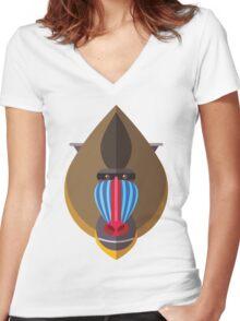 Mandril Women's Fitted V-Neck T-Shirt