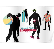 Funny zombies summer fun beach party Poster