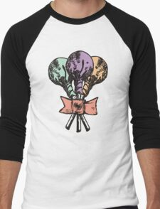 Vintage grunge lollipops candy heart ribbon Men's Baseball ¾ T-Shirt
