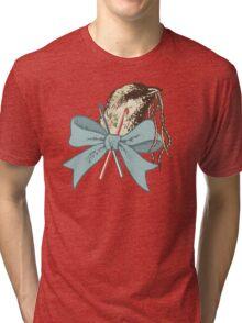 Vintage bird yarn crochet hooks crocheting tee Tri-blend T-Shirt