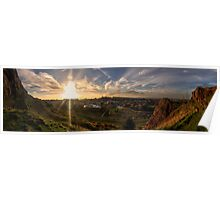 Panoramic Sunset of Edinburgh from Salisbury Crags Poster