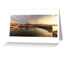 Sun begins to set over Newhaven Harbour, Edinburgh Greeting Card
