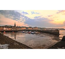The sun begins to set over Newhaven Harbour, Edinburgh Photographic Print