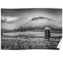 Fog Lifting Off Of The Farm Field 1 Poster