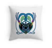 """In Flight"" Celtic Peacock Design Throw Pillow"
