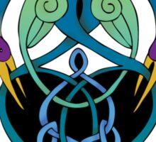 """In Flight"" Celtic Peacock Design (Border) Sticker"