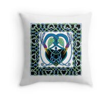 """In Flight"" Celtic Peacock Design (Border) Throw Pillow"
