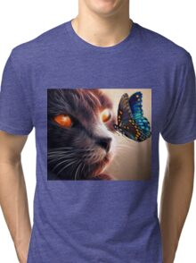 Calico Cat and Butterfly  Tri-blend T-Shirt