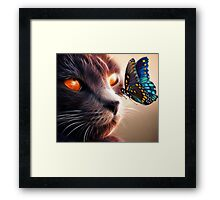 Calico Cat and Butterfly  Framed Print