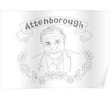 David Attenborough illustration Poster